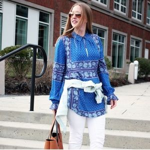 Free People Blue Floral Tunic